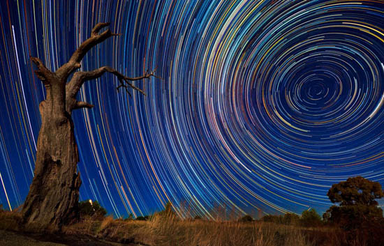 Amazing star trails in Australia