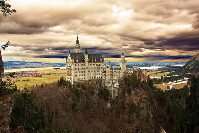 Neuschwanstein on a clouded Day