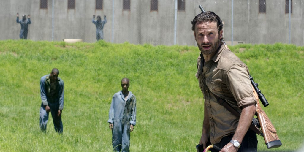 "This image released by AMC shows Andrew Lincoln as Sheriff Rick Grimes in a scene from the season three premiere episode of ""The Walking Dead,"" premiering Sunday at 9p.m. EST on AMC. (AP Photo/AMC, Gene Page)"