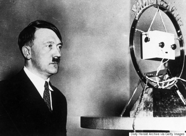 "GERMANY - NOVEMBER 29: Adolf Hitler, c 1931. "" Hitler in front of a microphone. (Photo by Daily Herald Archive/SSPL/Getty Images)"